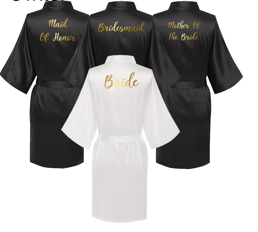 Sexy Black Robe Women Short Bride Bridesmaid Kimono Robes For Wedding Party Sister Of The Bride Mother Of The Bride Robes