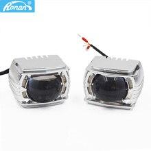 Ronan 12V 34W LED High Beam Projector Lens Retrofit H1 H4 H7 9005 9006 Motorcycle Car Headlight White Yellow DRL Angel Eyes