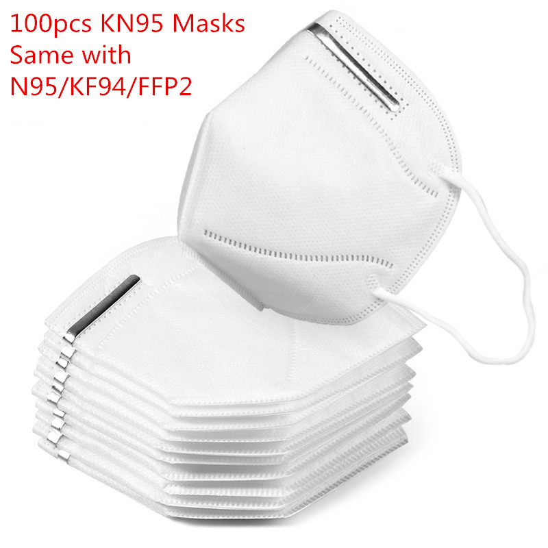 In Stocks! 50Pcs KN95 Dustproof Anti-fog Breathable Masks 95% Filtration N95 Anti-dust Face Mouth Masks Features As KF94 FFP2