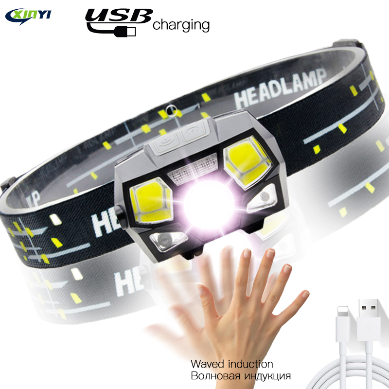 6000LM Super Bright LED Headlamp Built-in Battery Inductive Sensor USB Rechargeable 5Modes LED Headlight For Running, Fishing