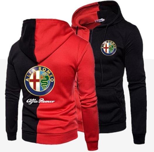 2019 Casual Hoodies Alfa Romeo Men Fashion New Patchwork Hooded Sweatshirt Coat Mens Moletom Masculino Fashion Slim Sportswear
