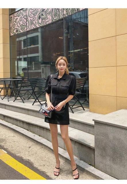 Robe creuse femme coréenne été 2020 nouveau Design populaire taille haute couleur unie col rabattu dentelle Mini robe a-ligne