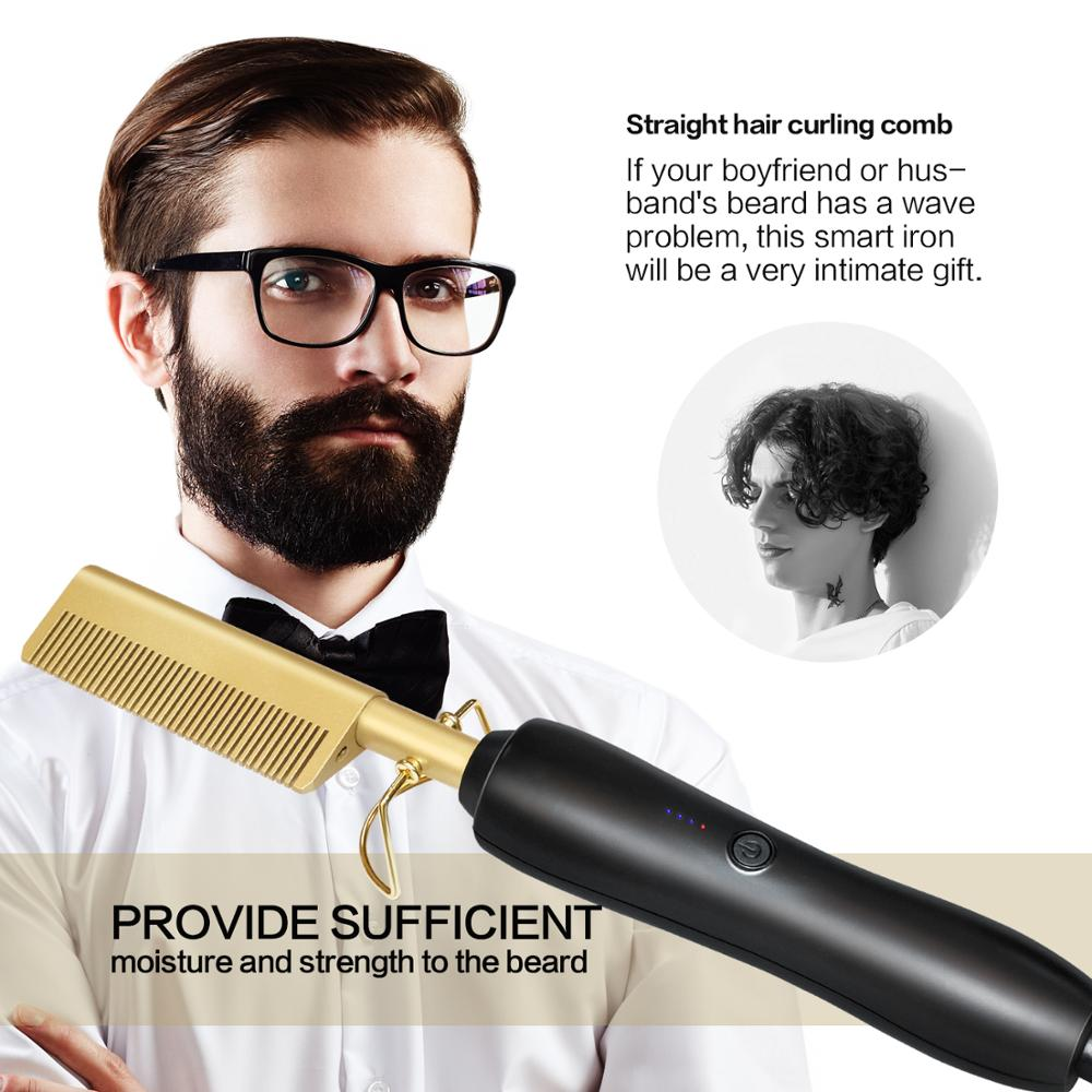 Multifunction Beard Straightening Hot Comb Electric Straight Hair Brush Styling Gold Irons Hair Straightener Quick Heating 450F