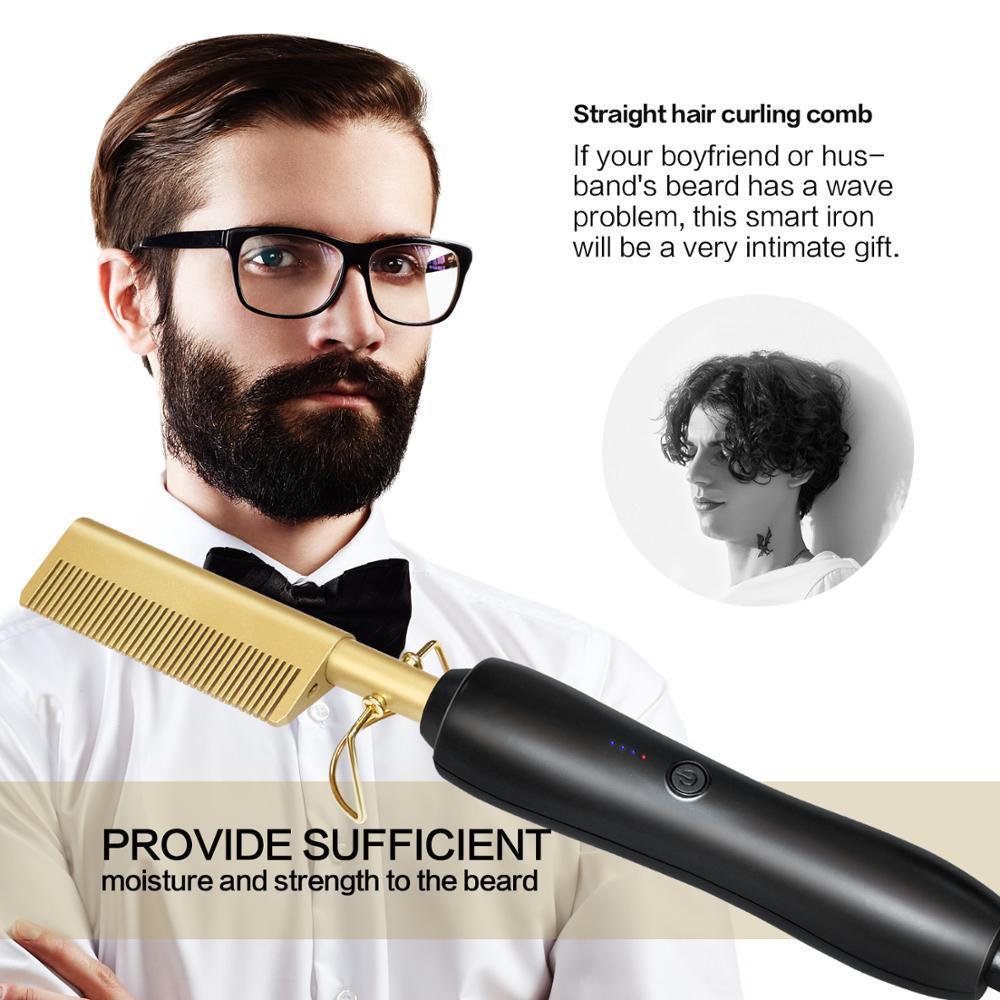 Multifunction Beard Straightening Hot Comb Electric Straight Hair Brush Styling Gold Irons Hair Straightener Quick Heating 450F