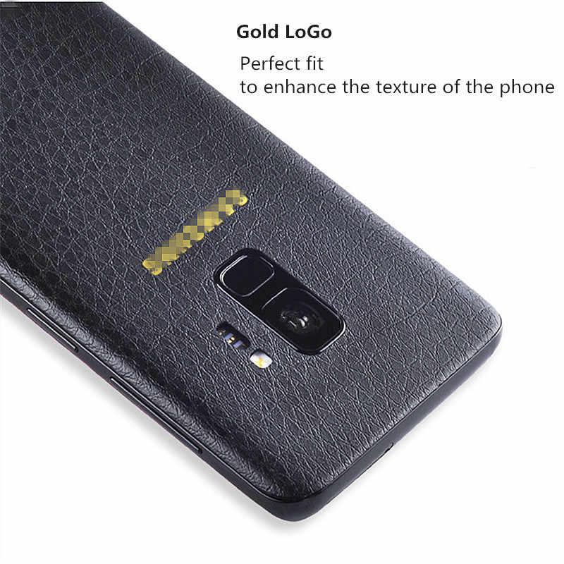 نمط الجلد لسامسونج S7 S8 S10 حافة S8 s9 plus عودة جلدية حامي ملصقات واقية المقرب الخلفي طبقة للزينة