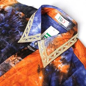 Image 4 - MD africano uomini vestiti a maniche lunghe top pantaloni vestito tradizionale africana abbigliamento uomo del sud africa bazin riche dashiki camicia KC47