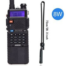 Baofeng UV 5R 8W Walkie Talkie güçlü 3800 mAh 10km 50km uzun menzilli UV5r çift bant iki yönlü cb radyo ar 152 taktik anten