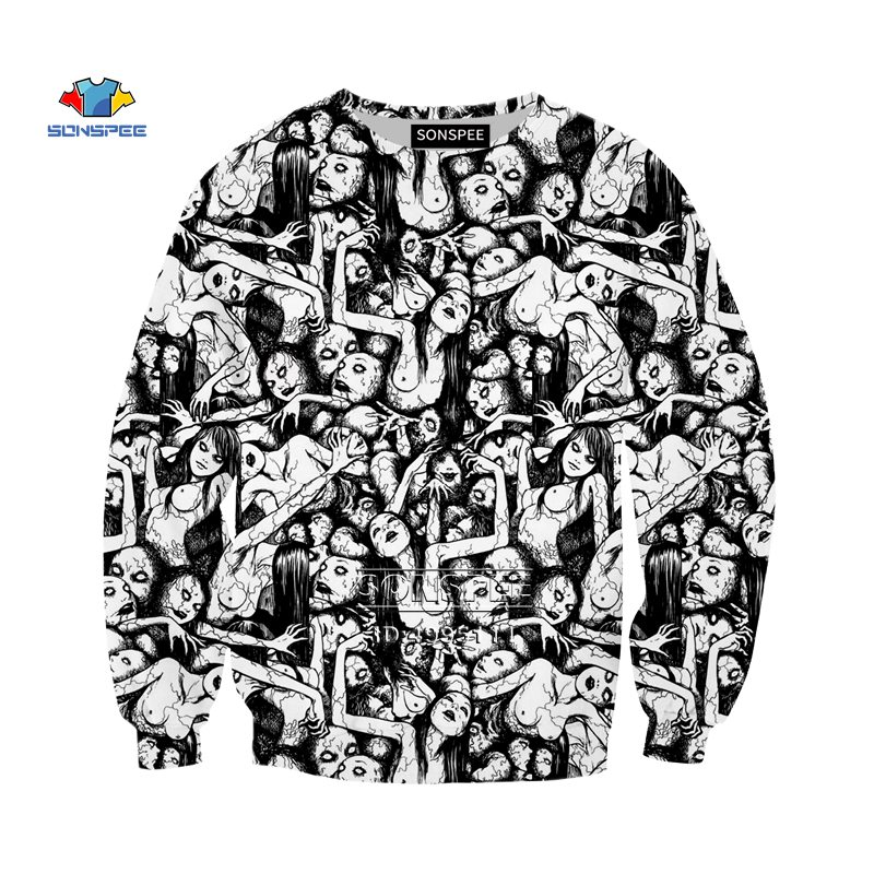 YOJULY Japan Junji Ito Horror Manga Comics 3d Print Men Women Sweatshirt Harajuku Hoodies Casual Long Sleeve Clothing