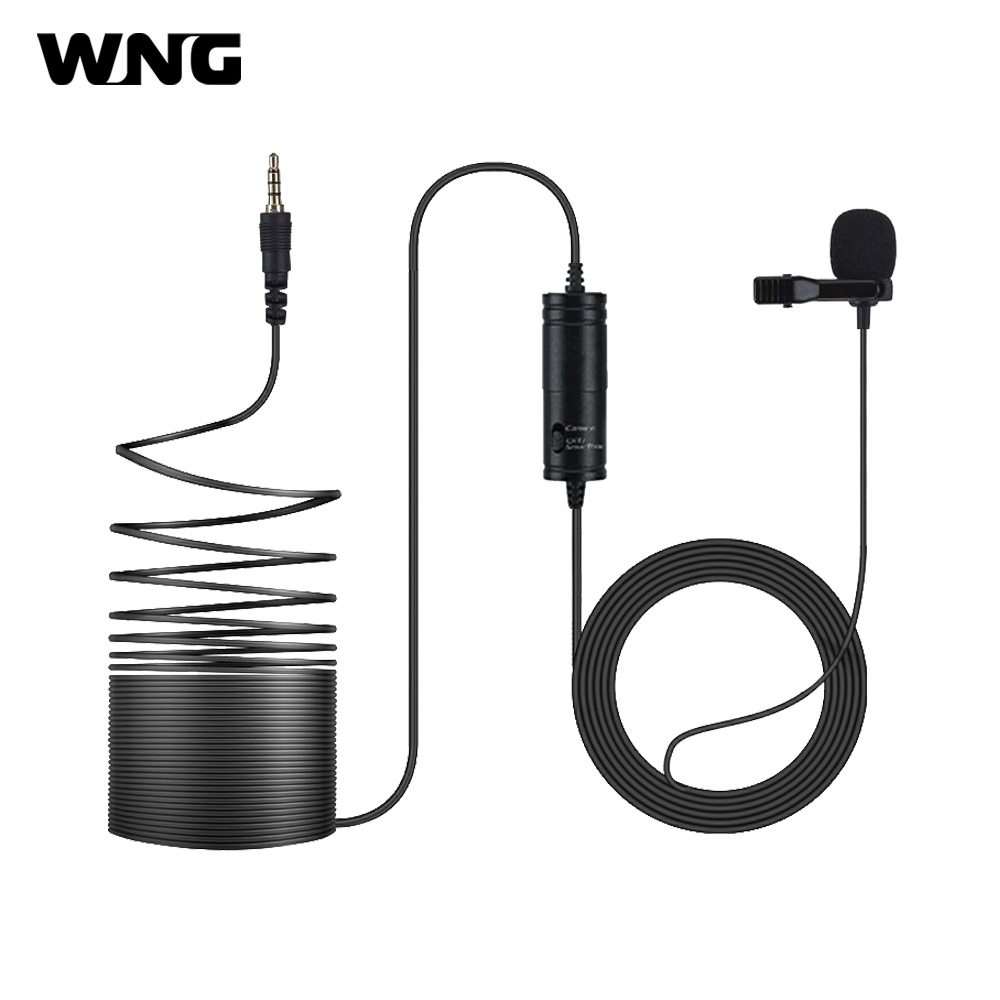 Omni-directional Lavalier Microphone With Metal Clip 3.5mm To 6.5mm Adapter 6M Long Cord For Smartphone And Cameras