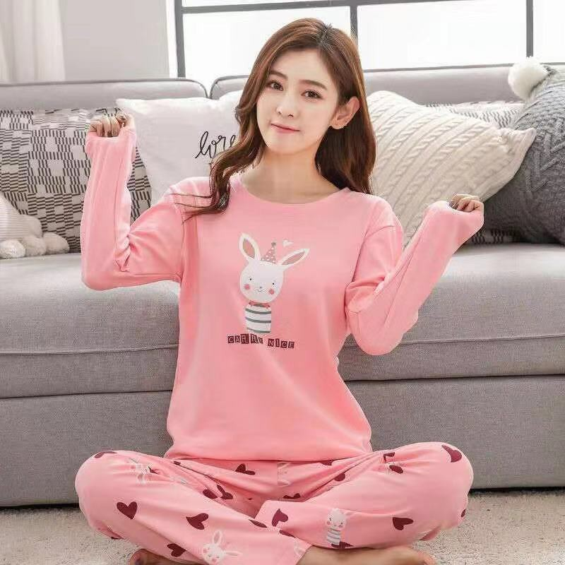 2019 Autumn Pyjamas Women Sleepwear Carton Cute Pijama Pattern Pajamas Set Thin Pijamas Mujer Sleepwear Dropshipping