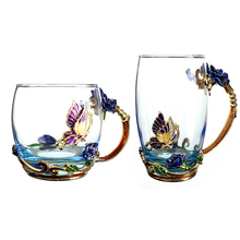 2019 New  Enamel Coffee Cup Flower Tea Glass Cups for Hot and Cold Drinks Mug Spoon Set Perfect Wedding Creative Gift