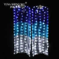 100% jedwabiu LED Rainbow taniec długa fani brzucha dla kobiet kostium taneczny wydajność rekwizyty do tańca brzucha chiński taniec wentylatory LED akcesoria