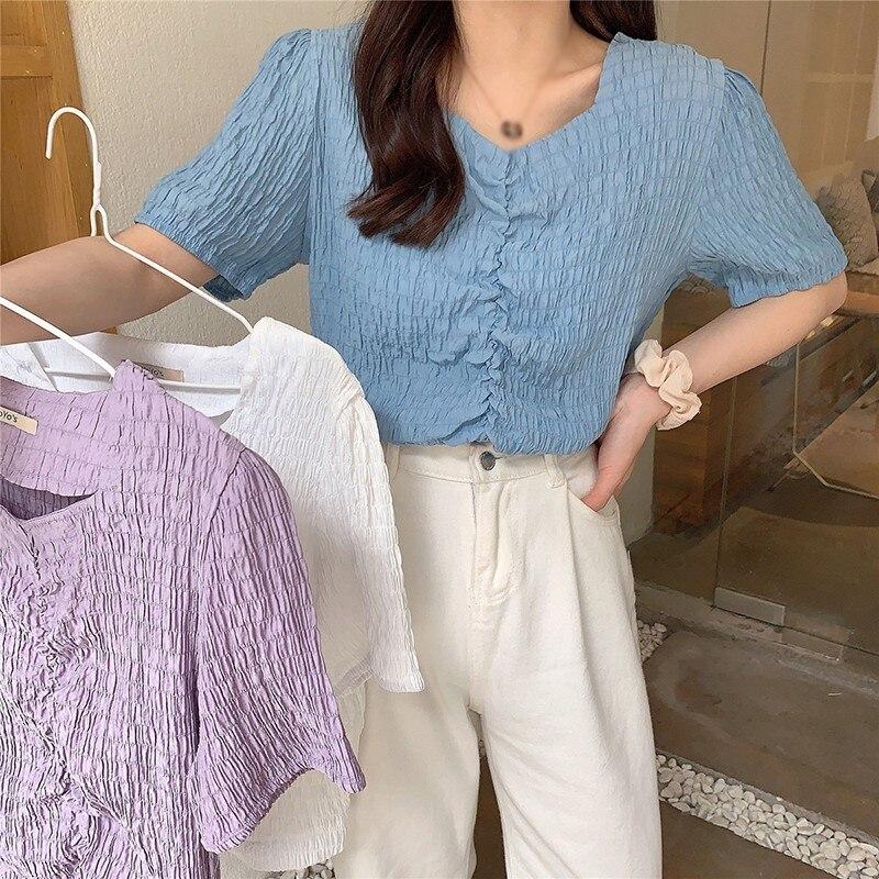 Летняя женская Милая футболка с круглым вырезом и коротким рукавом, однотонные милые топы, плиссированные Женские футболки в Корейском сти...