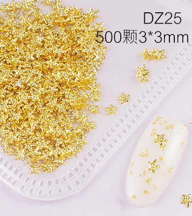 1 tasche 200-500 stücke Gold Linie Nagel Bolzen Nagel Teile Dekoration Stern Kreis Mond Nail art Nagel Salon
