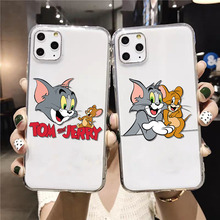 cartoon cute cat mouse Novelty Fundas Phone Case Cover for iPhone 11 pro XS MAX 8 7 6 6S Plus X 5 5S SE XR cover black cover lovely cat for iphone x xr xs max for iphone 8 7 6 6s plus 5s 5 se super bright glossy phone case
