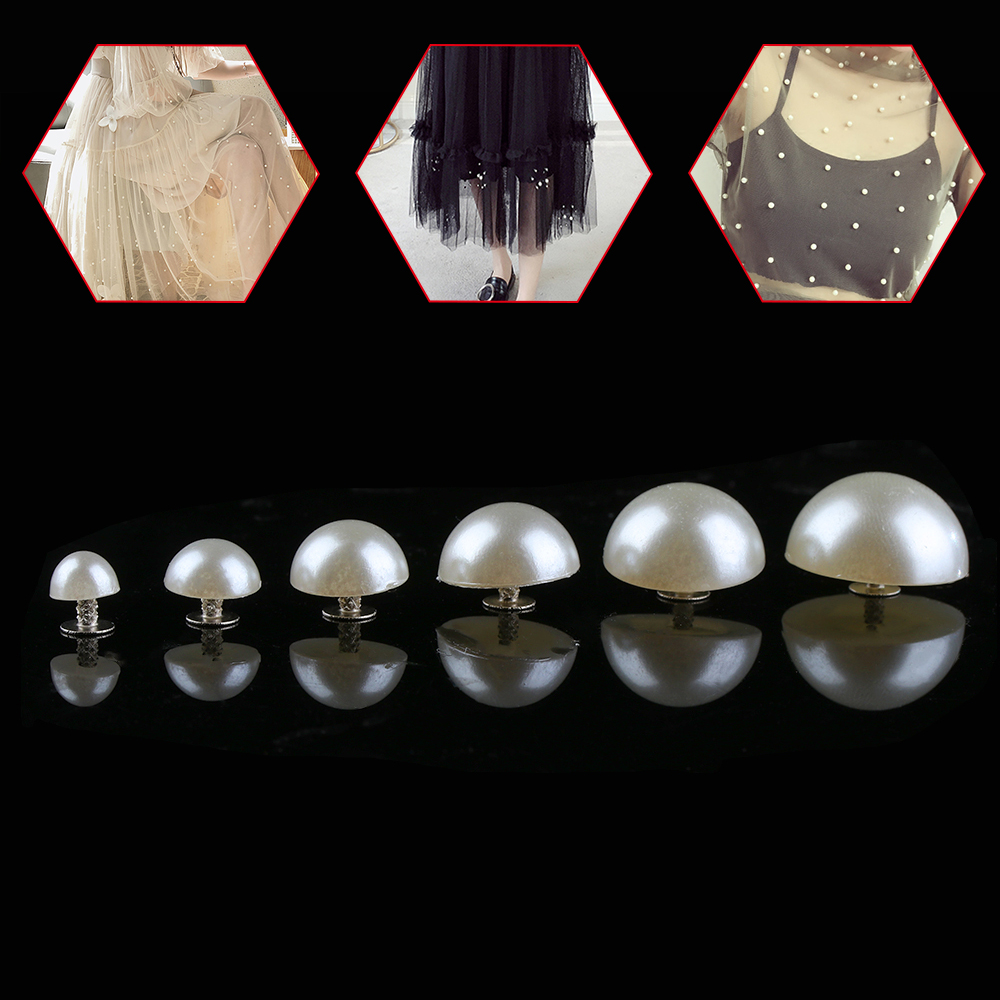 Pearl Rivets-Button Hat Bag Shoes Cloth-Pants Crafts-Decor Sewing-Accessories Half-Round title=