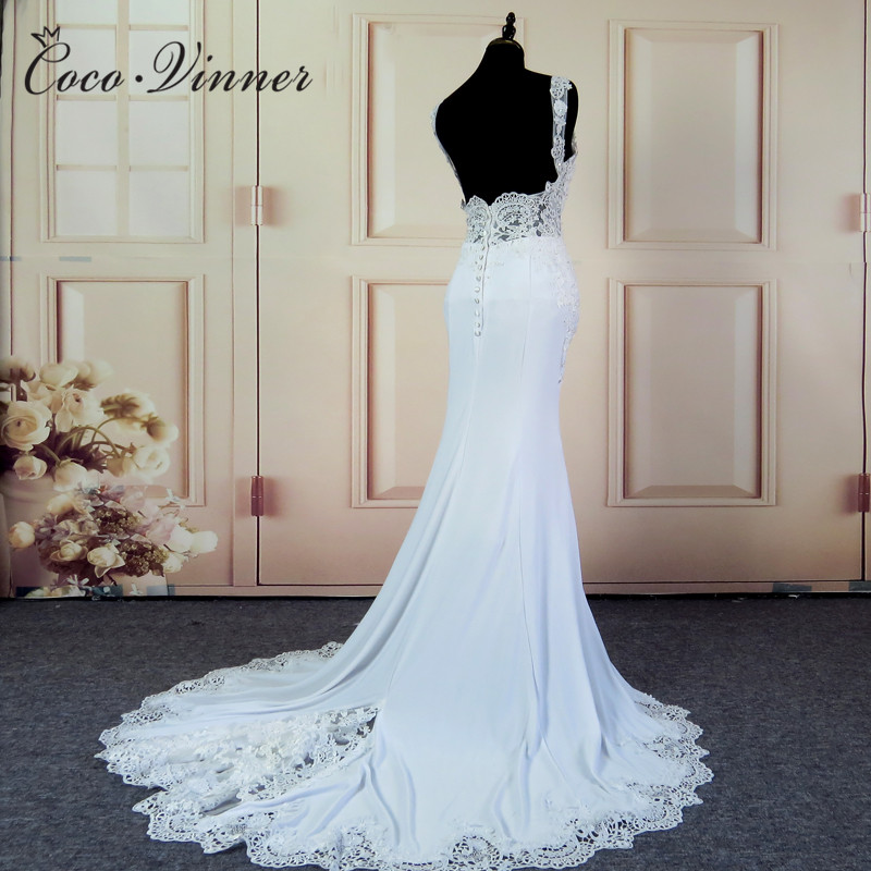 New 2019 Europe Design Sexy Backless Mermaid Wedding Dress Straps Beading Appliques Bridal Gowns Vestido De Noiva W0025