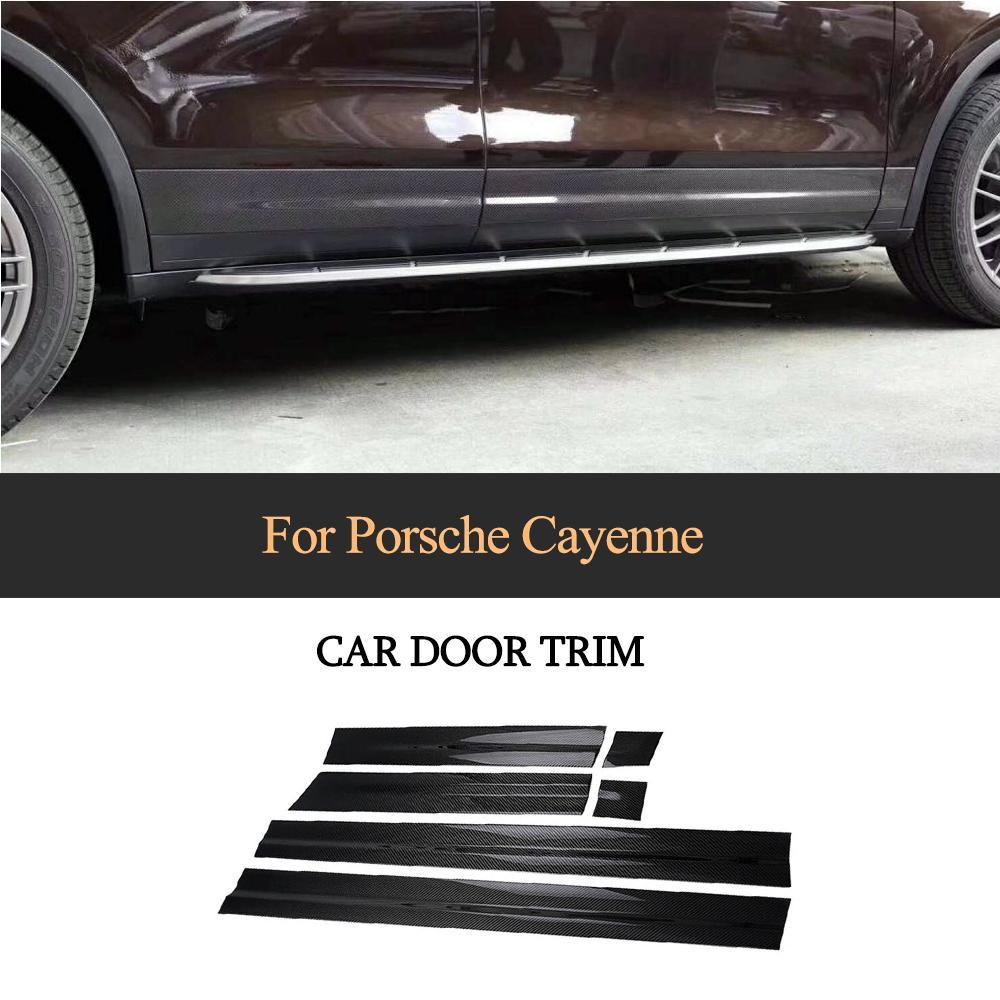 Боковое крыло двери автомобиля отделка Литье стикер для Porsche Cayenne 2015 2016 2017 углеродного волокна защиты тела полосы 7 шт