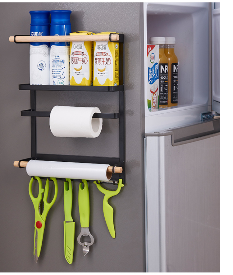 US $20.81 10% OFF|Baffect Iron Wooden Magnetic Storage Rack 3 Layers  Storage Refrigerator Rack Side Shelf Kitchen Storage Organizer Fridge  Holders-in ...