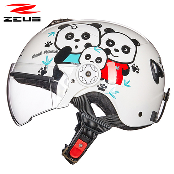 ZEUS boy child motorcycle helmet baby Half Face motorcyclist Helmet scooter cartoon skating skiing caps helmets