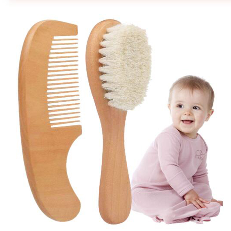2020 Natural Wool New Baby Wooden Brush Saft Comb Newborn Hair Brush Infant Head Massager