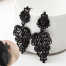 цены на Fashion Women Dangle Earring Bohemia Style Black Alloy Pierced Long Dangle Drop Earrings Jewelry Accessories  в интернет-магазинах