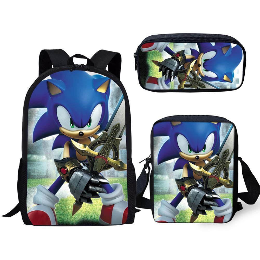 3Pcs/set Kids School Bag Students The Hedgehog Sonic Print Backpack For Boys Girls Children Bookbag Rucksack Knapsack Dropship