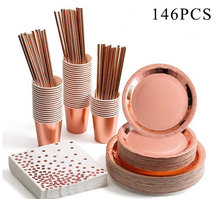 146pcs Party Tableware Supplies Rose Gold Festival Disposable Paper Cups Plates Straws Set Wedding Birthday Table Decoration