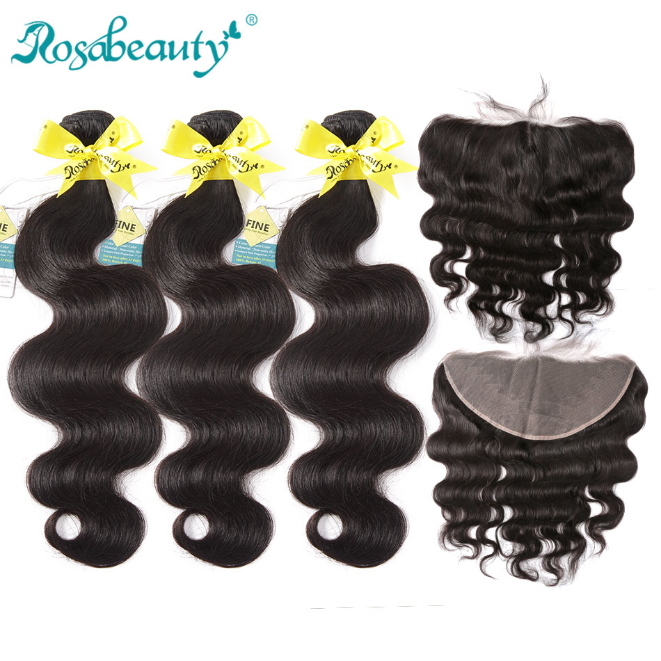 Rosa Beauty Body Wave 3/4 Bundles With Frontal Closure 8A Brazilian Hair Weave Bundles With Lace Frontal Remy Hair Extension