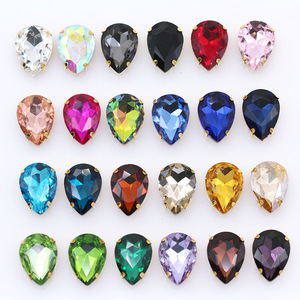 All-size Teardrop sew on faceted crystal glass stone sewing rhinestones jewel gold base buckle 4-Holes Beads clothes Accessories(China)
