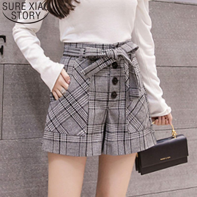 Elegant Leather Shorts Fashion High Waist Shorts Girls A-line  Bottoms Wide-legged Shorts Autumn Winter Women 6312 50 62