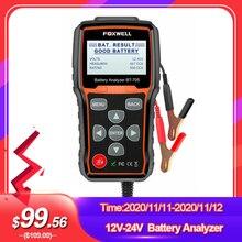 Analisador de bateria foxwell bt705 100 2000cca, teste de sistema de carros de 12v 24v ferramenta de diagnóstico