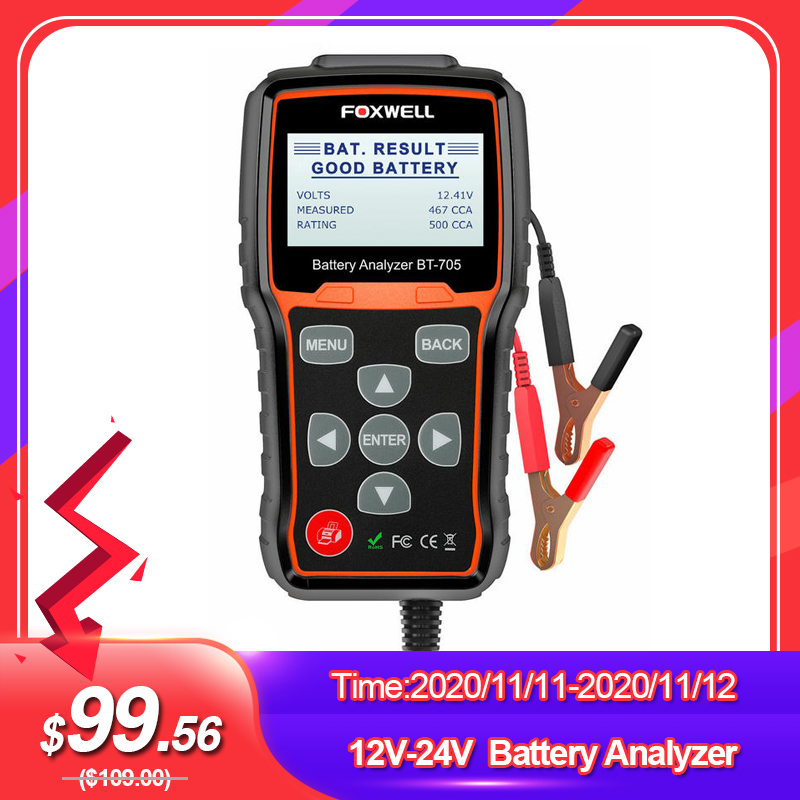 FOXWELL BT705 100-2000CCA Battery Analyzer Tester for Cars Trucks 12V-24V Car Cranking and Charging System Test Diagnostic Tool