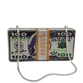 Women Dollar Evening Shoulder Bag Clutch Hot Drilling Diamond Prom Party Handbag X5XA