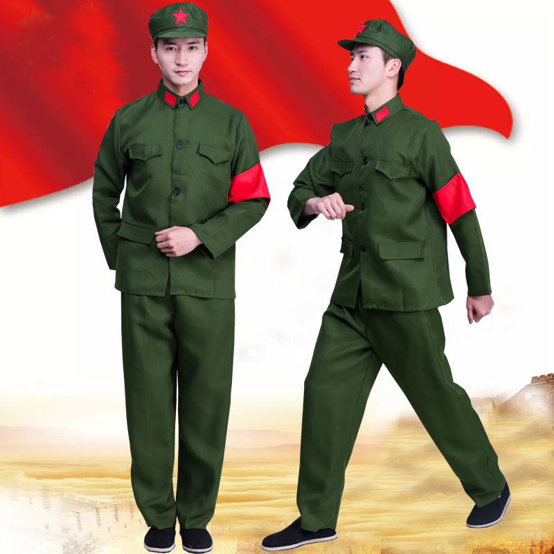 Vintage Military Uniform Red Guards Women Solider Clothing Photography Army Uniform Red Army of China Performance Costume image