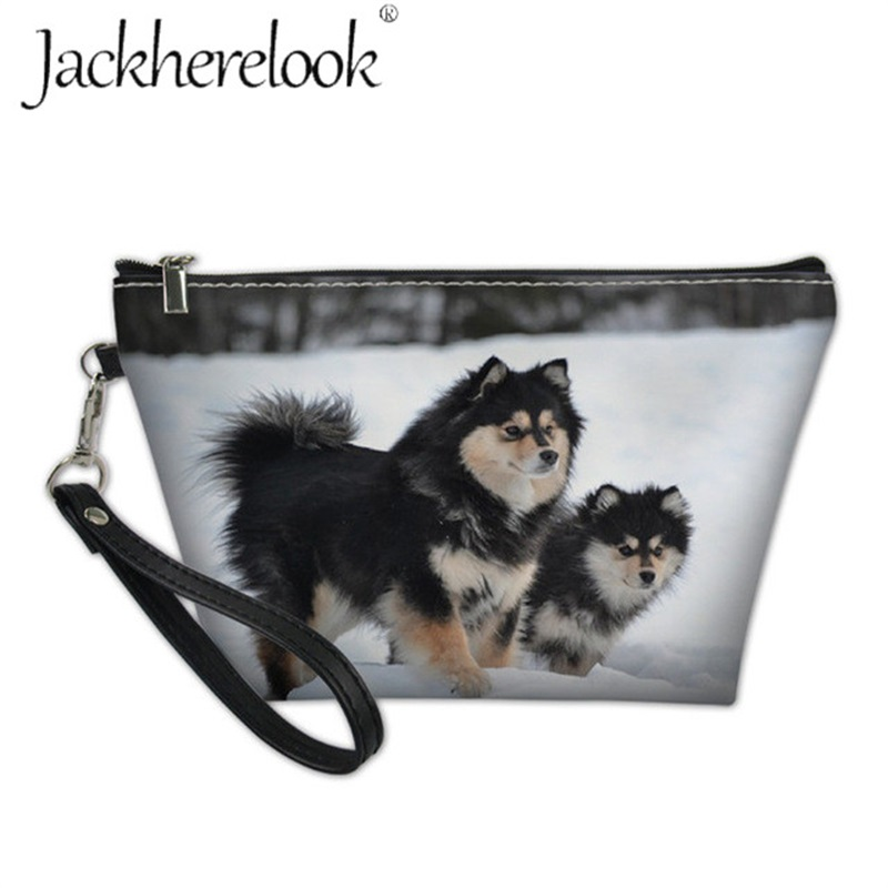 Jackherelook Finnish Lapphund Dog Printing Makeup Pouch For Female Cosmetic Storage Bag Mini Travel Organizer Case Cute Pet Box