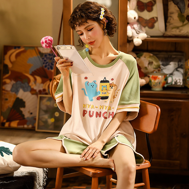 JULY'S SONG Thin Cartoon Pajamas Short Sleeve Sleepwear Women Pajamas Set Spring Summer New Cute Casual Homewear Female Pyjamas