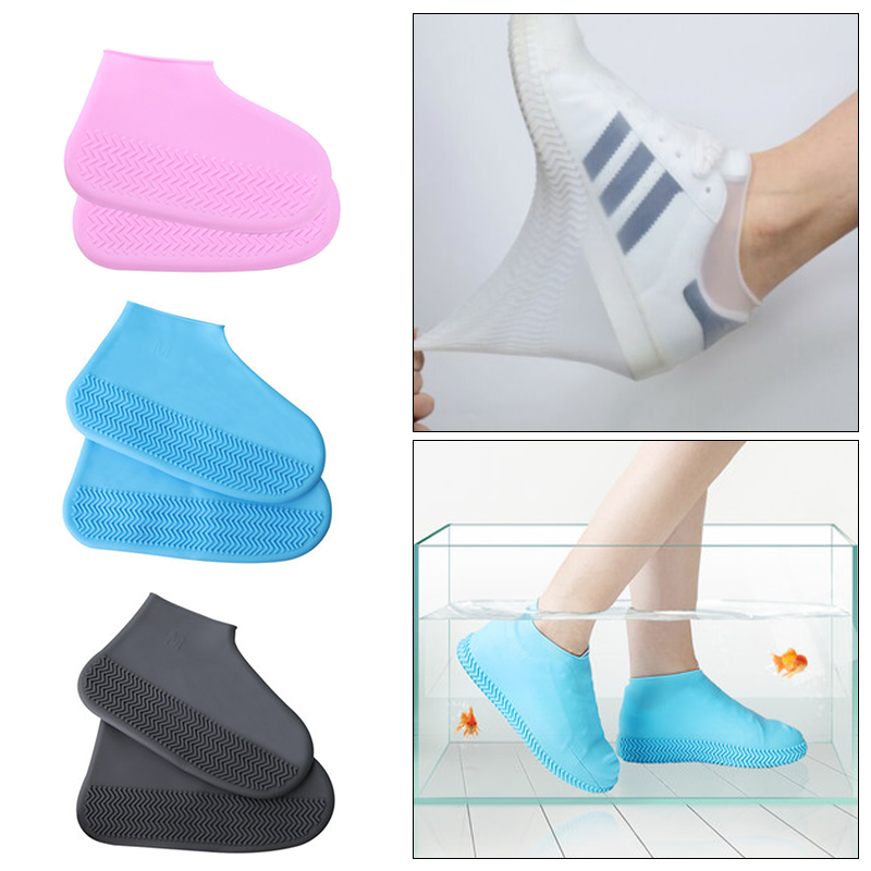 Portable Useful Reusable Waterproof Elasticity Shoes Covers For Traveling Beach Non-Slip Rubber Rain Women Men Solid Shoe Cover