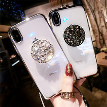 Menyepuh Dgn Listrik DIY Crystal Pemegang Stand Phone Case untuk Samsung S7 Edge S8 S9 S10 S20 Plus A10 A20 A30 A70 a80 Lembut TPU Coque Cover(China)