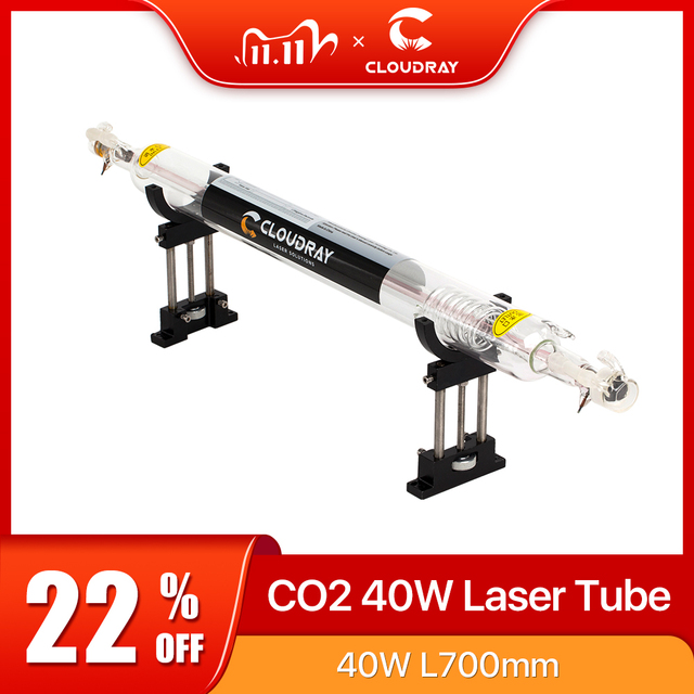 Cloudray Co2ガラスレーザーチューブ700ミリメートル40ワットガラスレーザー用CO2レーザー彫刻切断機