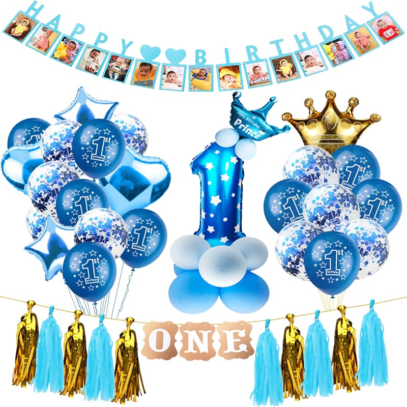 1st Birthday Balloons 1 Year Decoration Boy Baloon Birthday Party Decorations Kids Balony Baby Birthday Girl 1 Year Globos Xn Buy At The Price Of 0 99 In Aliexpress Com Imall Com