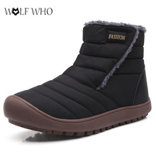 New Men Casual Boots Couple Warm Fur Plush Ankle Snow Boots
