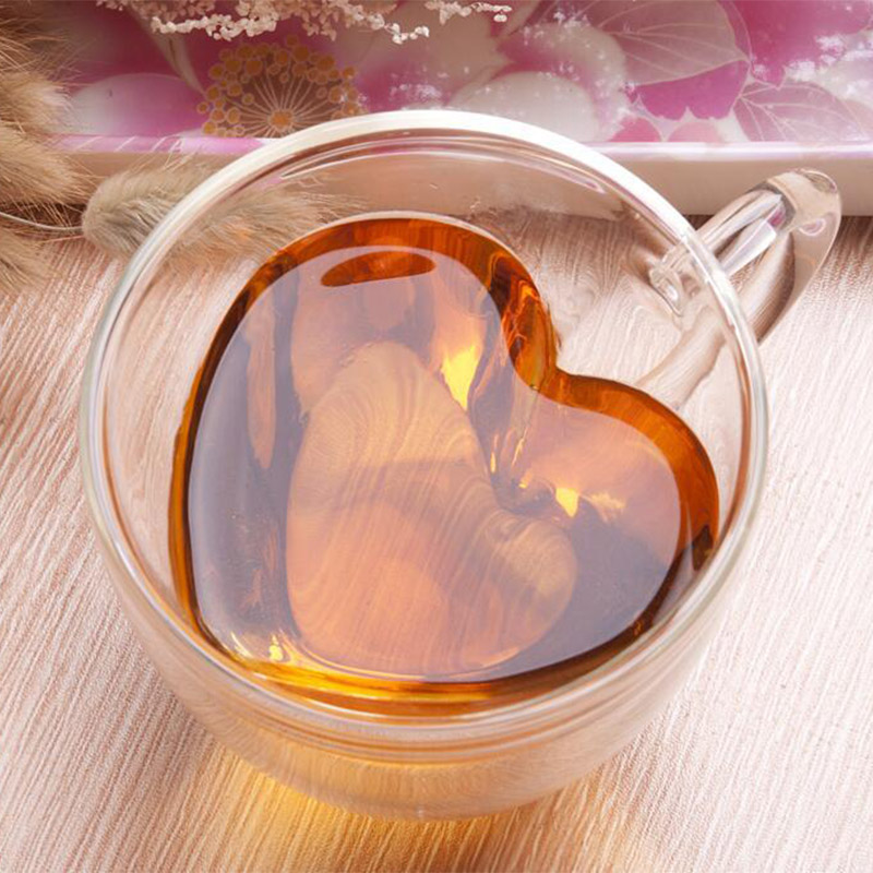 Новая термостойкая двухслойная стеклянная чашка в форме сердца