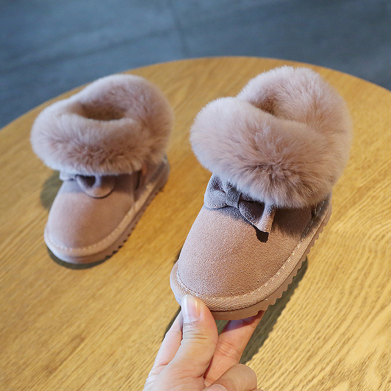 Image 5 - Claladoudou 11.5 15.5cm Brand Turned over Warm Plush Baby Snow Boots Genuine Leather Cute Butterfly Party Winter Shoes ToddlerBoots   -