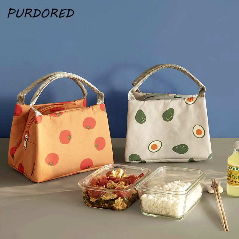PURDORED 1 Pc Solid Color  Fruit Foods Container Bag Women Lunch Bag Thermal Insulated Cooler Bags Kids Lunch Tote Lunch Termo
