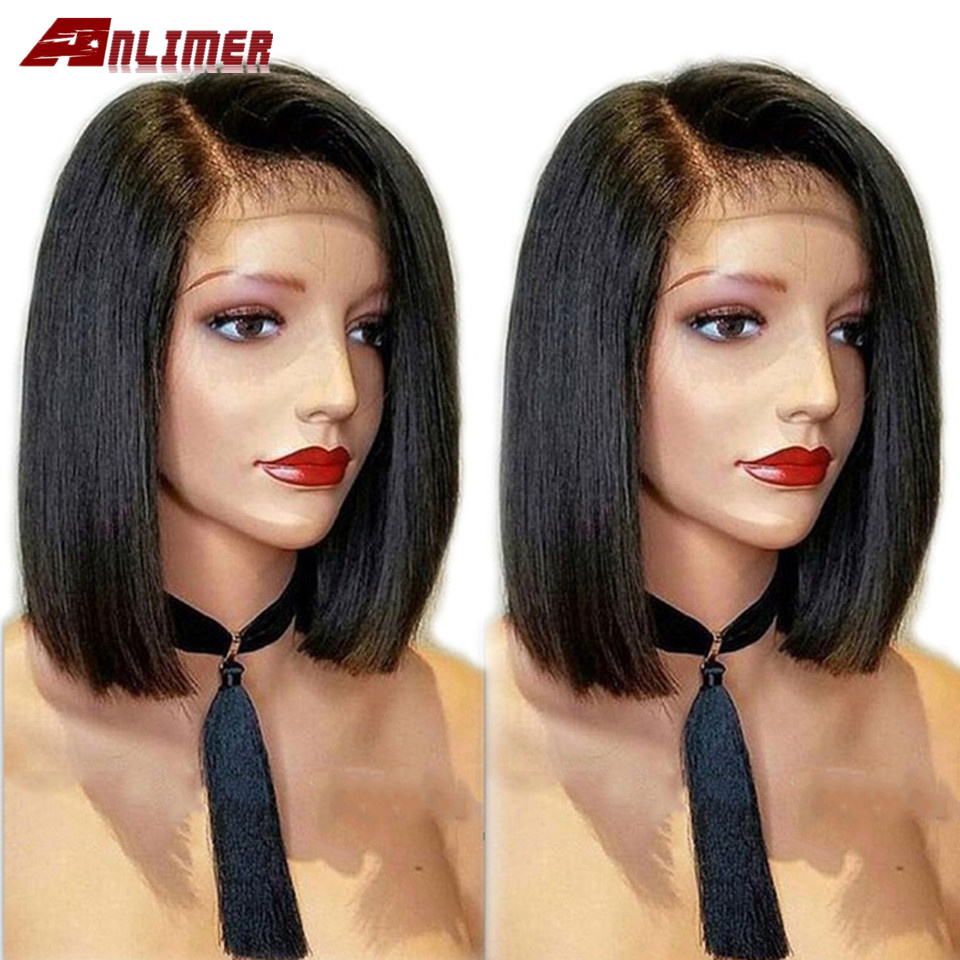 Straight Hair Wig Peruvian Bob Wig Side Part 13*4 Lace Front Human Hair Wigs For Black Women Preplucked With Baby Hair Remy Wig