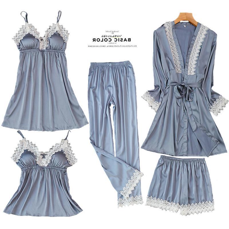 Women Sexy Lace Kimono Bathrobe Gown Satin Solid Wedding Bride Bridesmaid Robes Nightwear Lace Rayon Female Sleepwear Pajamas