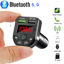 1 PC Wireless Bluetooth 5.0 Car FM Transmitter MP3 Player Hands Free Radio Adapter Car Kit Aux Audio USB Charger Accesories