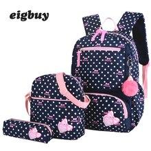 Preppy Style 3 Stks /set Women Print Nylon Backpacks High Quality Schools Backpacks Fashion Travel School Backpack Kids Bags