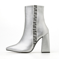 2019 FEN Letter Print Women Boots 10cm High Heels Short Fetish Ankle Boots Chunky Silver Heels Boots Luxury Design White Shoes